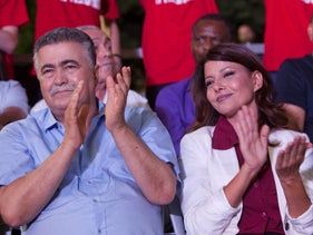 Amir Peretz and Orli Levi-Abekasis at a campaign rally, Ofakim, August 13, 2019.