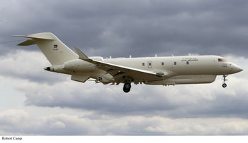 The United Arab Emirates spy plane, in test flight in U.K. before being delivered to the UAE