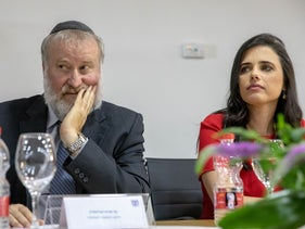 Ayelet Shaked and Attorney General Avichai Mendelblit at a ceremony marking the end of her tenure as justice minister, June 4, 2019.