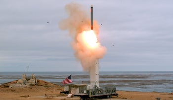 U.S. launch of a conventionally configured ground-launched cruise missile off the coast of California, August 18, 2019.