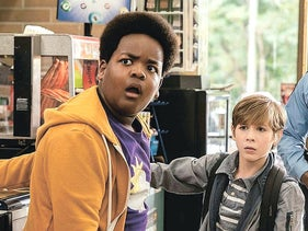"Keith L. Williams (left) and Jacob Tremblay in ""Good Boys."""