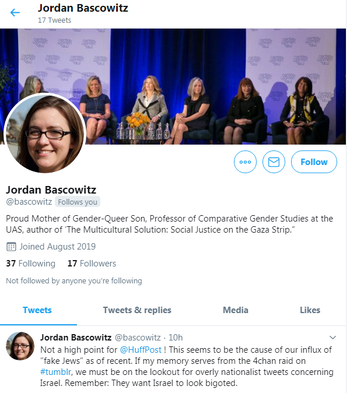 A seemingly fake account impersonating a Jewish woman on Twitter.