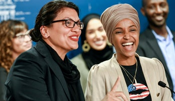 U.S. Representatives Rashida Tlaib (D-MI) and Ilhan Omar (D-MN) during a news conference in St Paul, Minnesota, August 19, 2019.