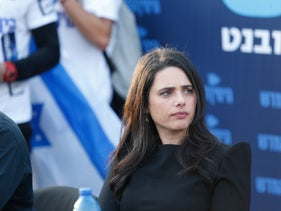 """Former Israeli Justice Minister and """"Yemina"""" party leader Ayelet Shaked during a press conference in south Tel Aviv, on April 2, 2019."""