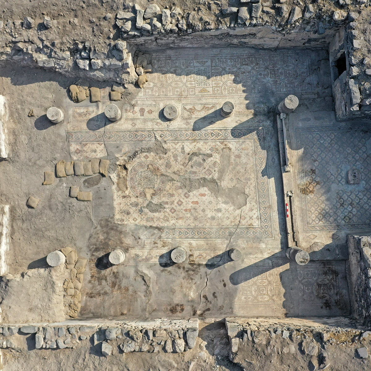 Aerial view of the floor of the Burnt Church in Hippos-Sussita