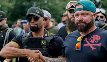 A Proud Boys leader, Enrique Tarrio, and rally organizer Joe Biggs, right, at the group's march in Portland, Oregon, August 17, 2019.