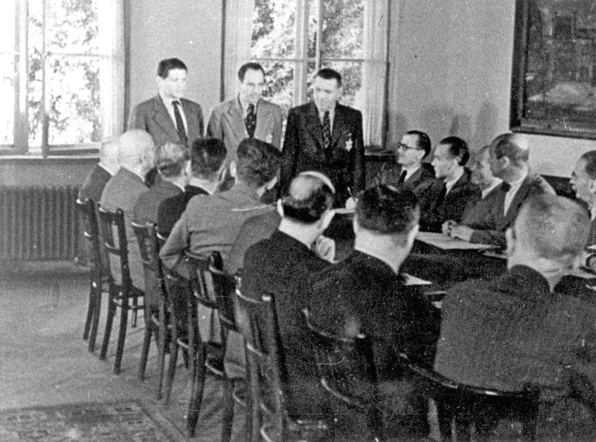 A meeting of the Theresienstadt Judenrat, in 1944.