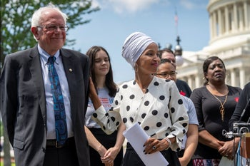 Sen. Bernie Sanders and Rep. Ilhan Omar at an outdoor news conference in Washington, June 24, 2019.