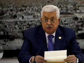 Palestinian Authority President Mahmoud Abbas speaks during a meeting with Palestinian leadership in Ramallah, July 25, 2019.