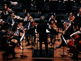 Musicians of the Palestine Youth Orchestra perform at the Theater Orpheus in Apeldoorn, Netherlands August 15, 2019.