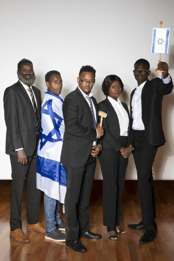"""The five asylum-seekers performing in the play """"Kishta!"""" – due to debut on August 30, 2019."""