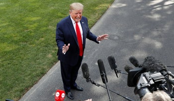 Trump speaks to the media at the White House, July 24, 2019.