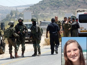 Rina Shnerb and the scene of the explosion near the West Bank settlement of Dolev, August 23, 2019