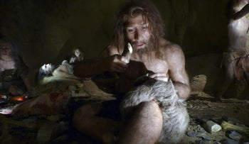 An exhibit shows the life of a neanderthal family in a cave in the new Neanderthal Museum in the northern town of Krapina,February 25, 2010.