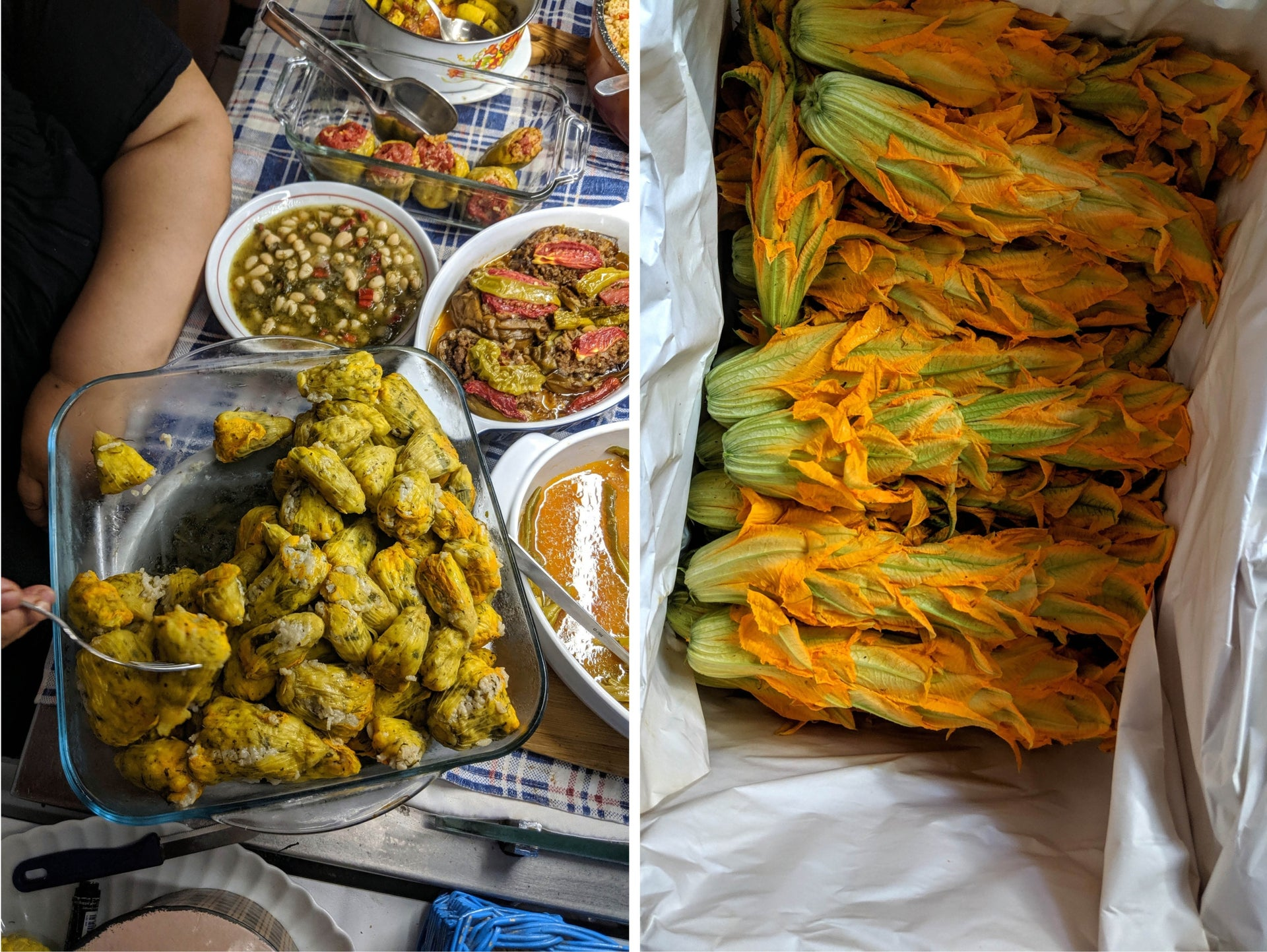 Zucchini blossoms at the market in Ayvalik, and a dish of stuffed blossoms at one of the city's lokantas.