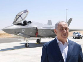 U.S. outs Israel over anti-Iran strikes in Iraq. pictured: Netanyahu and an Israeli F-35
