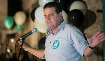 Joint List Chairman Ayman Odeh at the launch of the slate's campaign in Tel Aviv, August 20, 2019