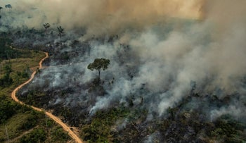 Smoke billowing from fires in the forest in the Amazon biome in the municipality of Altamira, Para State, Brazil, August 23, 2019