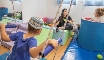 Special-needs children at a school in Modi'in, Israel, August 8, 2019.
