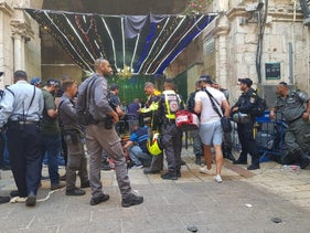 The scene of the stabbing in Jerusalem's Old City, August 15, 2019.