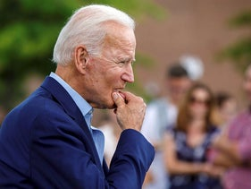 Democratic presidential candidate former Vice President Joe Biden approaches reporters to answer questions following a campaign stop at Lindy's Diner in Keene, N.H., Saturday, Aug. 24, 2019