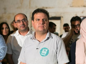 Aymen Odeh at the Joint List campaign launch, August 20, 2019.