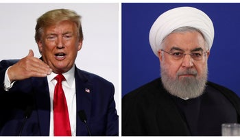 Donald Trump speaks during the G7 summit on August 26, 2019; Hassan Rohani addresses Foreign Ministry staff in Tehran, August 6, 2019.