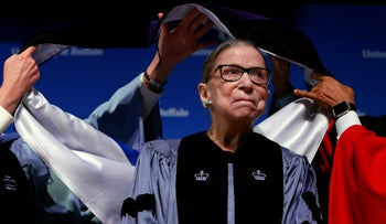 Supreme Court Associate Justice Ruth Bader Ginsburg attends a ceremony where she received a SUNY Honorary Degree from the University at Buffalo, New York, on Monday, August 26, 2019.