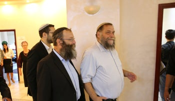 Otzma Yehudit candidates Bentzi Gopstein and Baruch Marzel at a press conference in Jerusalem on Monday, August 26, 2019.