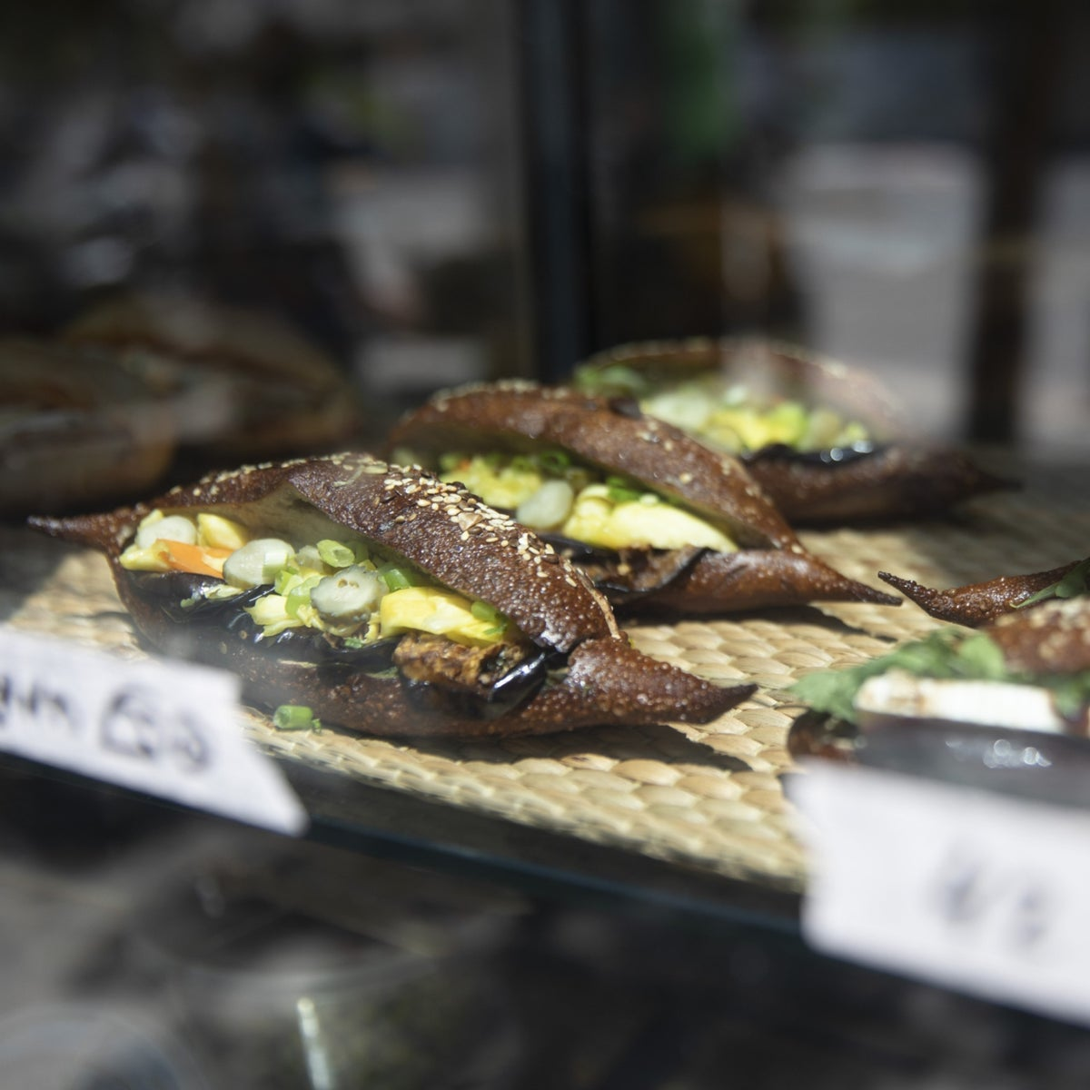Sandwiches on display at Nordinyo, Tel Aviv, August 15, 2019.