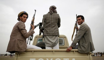 Houthi rebels fighters in Sanaa, Yemen, Thursday, August 1, 2019