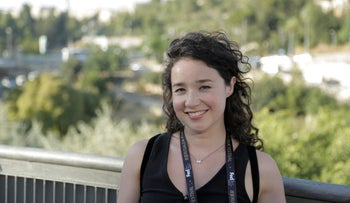 Sarah Steele in Jerusalem, in July. It turns out that not only is this Steele's first visit to the Holy Land, but she's not even Jewish.