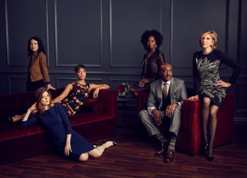 "The cast of ""The Good Fight"" with Steele on the far left. 'The challenge in television is to keep this energy high for a long period of time.'"