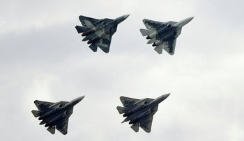 Sukhoi Su-57 fighter jets perform at the MAKS 2019 air show in Zhukovsky, outside Moscow, Russia, August 27, 2019.