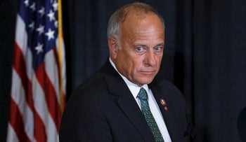 U.S. Rep. Steve King, R-Iowa, listens to a question during a news conference, Friday, Aug. 23, 2019, in Des Moines, Iowa
