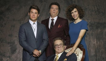 """The Gemstones, from left, standing: Adam DeVine, Danny McBride, Edi Patterson. Seated: John Goodman. """"King Lear"""" still rules the roost."""