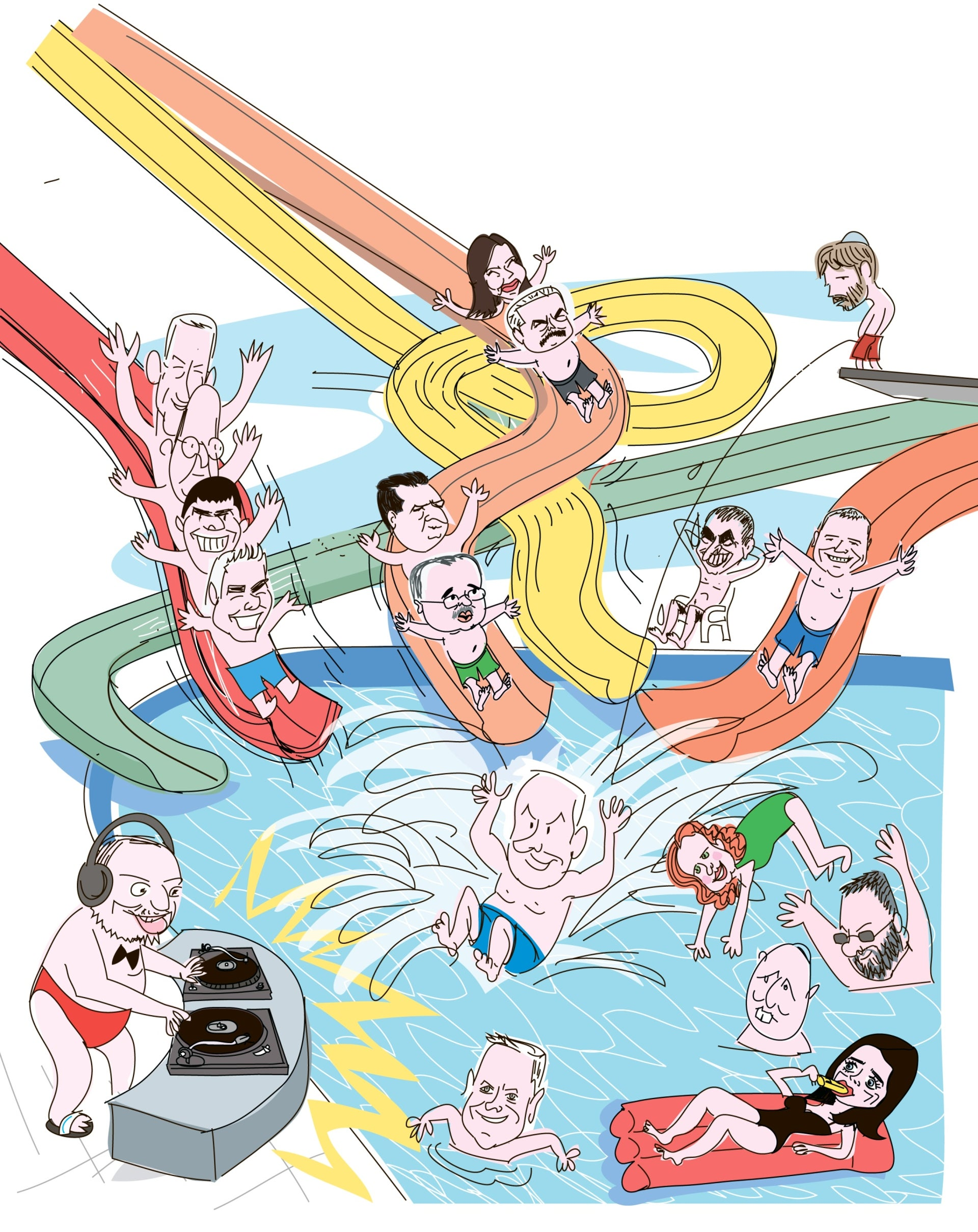 Illustration: Israeli politicians at a water park
