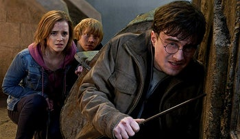 "Emma Watson, Rupert Grint and Daniel Radcliffe are shown in a scene from ""Harry Potter and the Deathly Hallows: Part 2."""