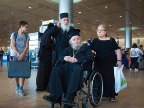 Ousted Greek Orthodox Patriarch of Jerusalem, Irenaeus I, at Ben-Gurion Airport, August 29, 2019.