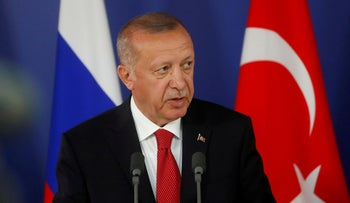 Turkish President Recep Tayyip Erdogan attends a joint news conference with Russian President Vladimir Putin outside Moscow, Russia, August  27, 2019.