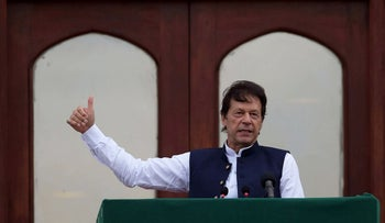 Pakistan's Prime Minister Imran Khan at a countrywide 'Kashmir Hour' demonstration to express solidarity with the people of Kashmir, at the Prime Minister's House, Islamabad, Pakistan, August 30, 2019