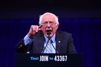 2020 US Democratic Presidential hopeful US Senator for Vermont Bernie Sanders speaks on-stage during the Democratic National Committee's summer meeting in San Francisco, California on August 23, 2019
