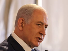 Benjamin Netanyahu speaks during a cornerstone ceremony for the Mobileye campus in Har Hahotzvim on August 27, 2019.