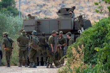 Israel Defense Forces soldiers on the border with Lebanon, after tensions mount due to Hezbollah threats against Israel following drone attacks on Beirut, which the organization attributed to Israel, August 31, 2019