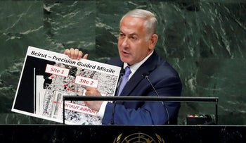 Netanyahu revealing intelligence images of advanced Hezbollah missiles in Beirut at the UN, September 2018.