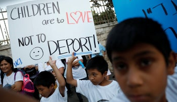 Children protest deportation of Israeli-born children of foreign workers outside the Prime Minister's Residence, Jerusalem, June 11, 2019.