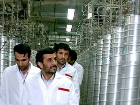 Mahmoud Ahmadinejad visits the Natanz nuclear enrichment facility, Iran, April 8, 2008.
