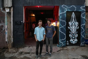 Eyal Roe, left, and Ido Gavish at the entrance to their cinema. 'Existing frameworks don't enable creativity that is more spontaneous, unique and honest.'