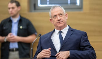 Benny Gantz at a Kahol Lavan meeting in the Knesset, August 10, 2019.