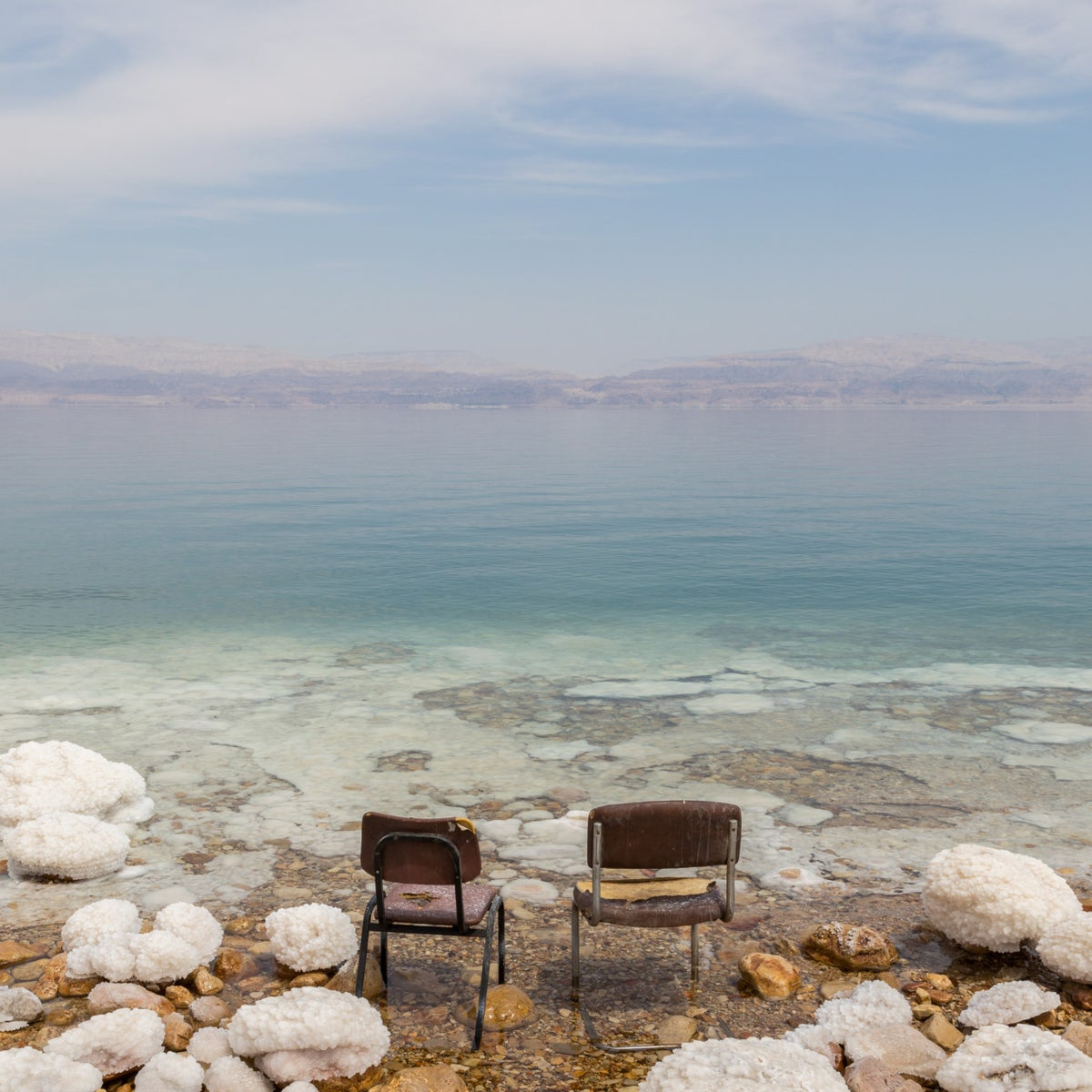 Ein Gedi beach, closed because of sinkholes.